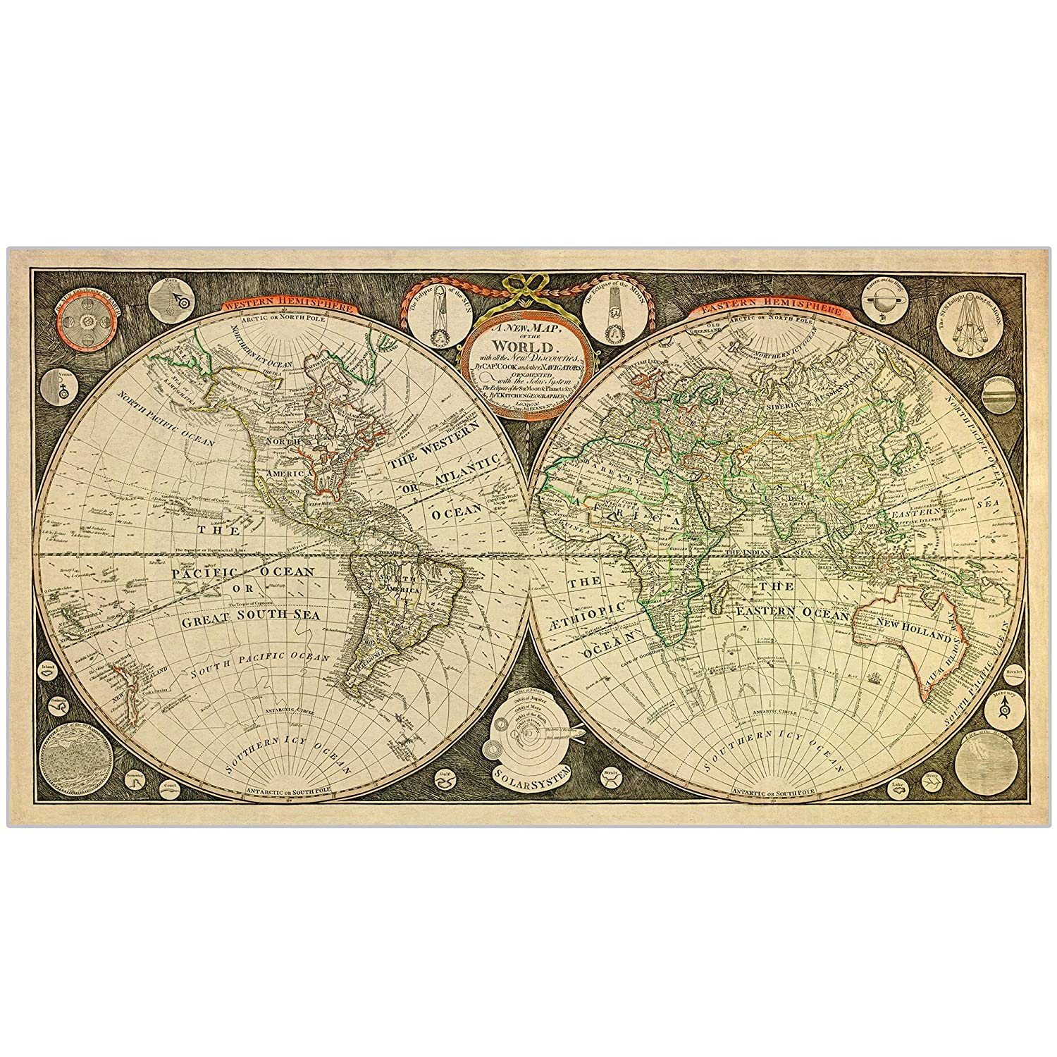 Captain Cook 1799 Vintage World Map Poster - Canvas/Silk Fabric Print Map  of The World - World Map Wall Art/Old Decor/Antique Maps/Wall Hanging - 42  x ...