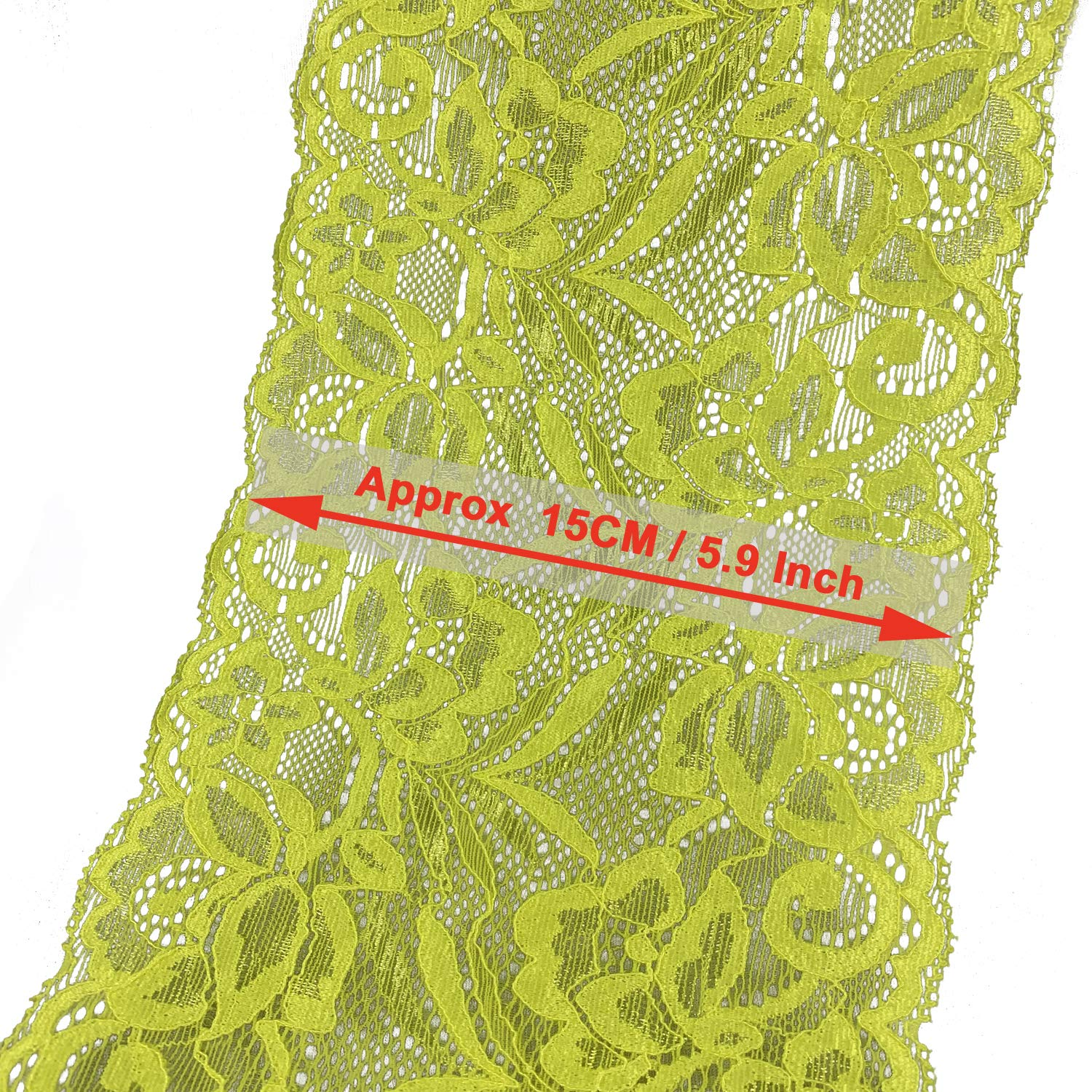 10 Yards 5.9 15CM Orange Width Stretch Polyester Embroidery Floral Pattern Elastic Lace Trimming DTY Craft Supply Clothing Accessories