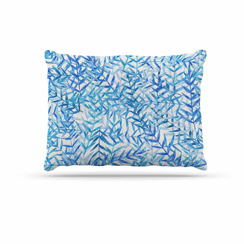 KESS InHouse Strawberringo Leaves bluee White Dog Bed, 50  x 40