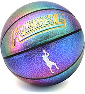 Milachic Reflective Basketball Multi-Color Glow Basketball for Indoor Outdoor Use 29.5inch Basketball Gifts for Boys Girls