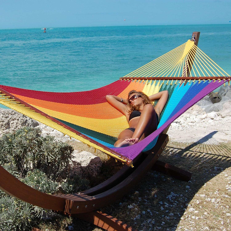 "Caribbean Hammocks 55"" Wide Jumbo Caribbean Hammock - Rainbow - 600 lb Weight Capacity"