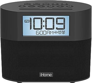 iHome Bluetooth Dual Alarm FM Clock Radio with Speakerphone and Dual USB Charging