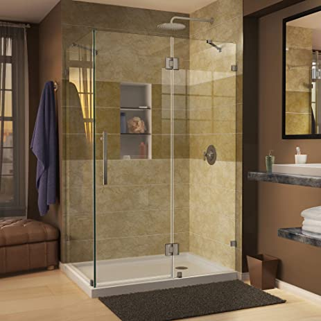 DreamLine Quatra Lux 34 5/16 in. D x 34 5/16 in. W, Frameless Hinged ...
