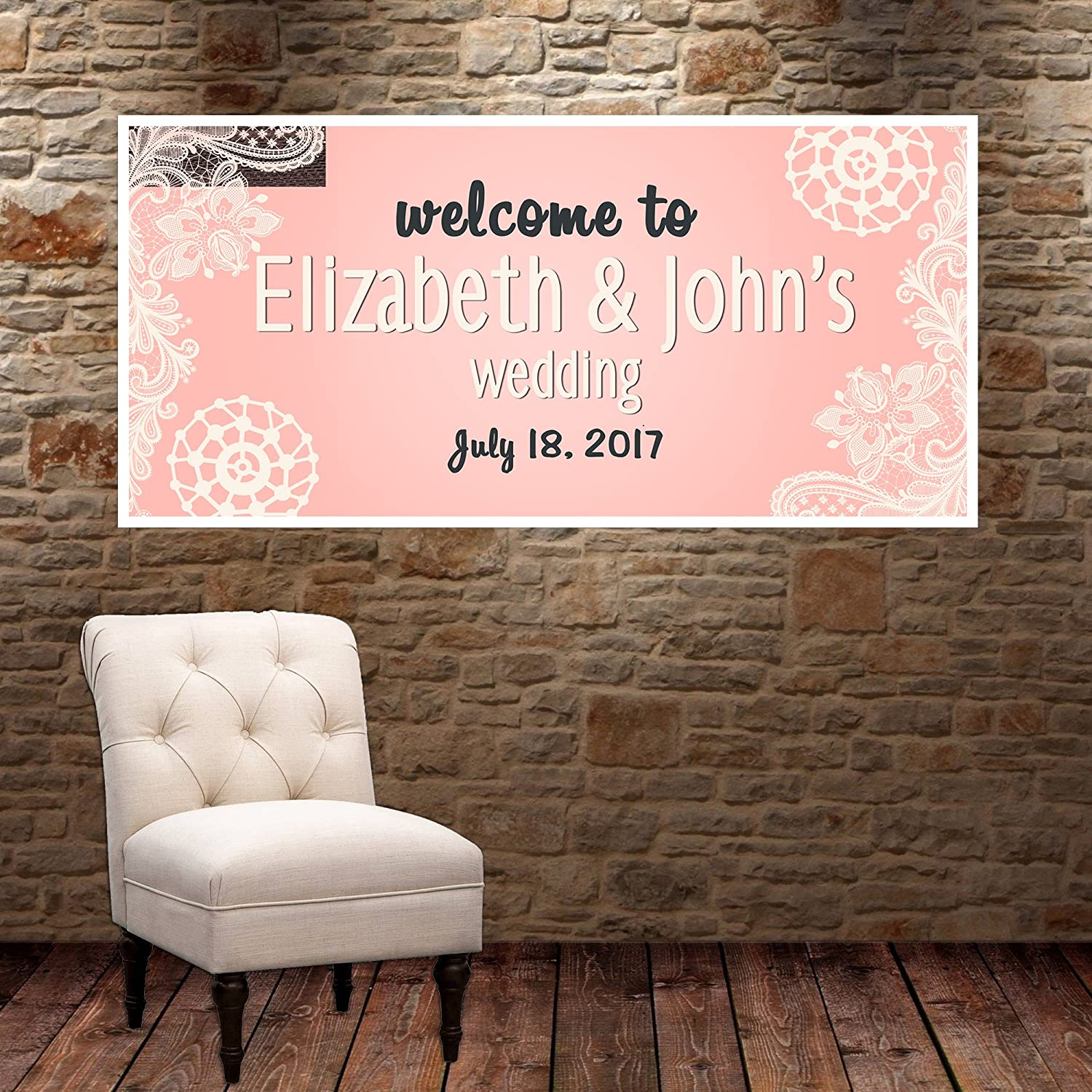 Lace Pink Wedding Personalized Party Banner Decoration