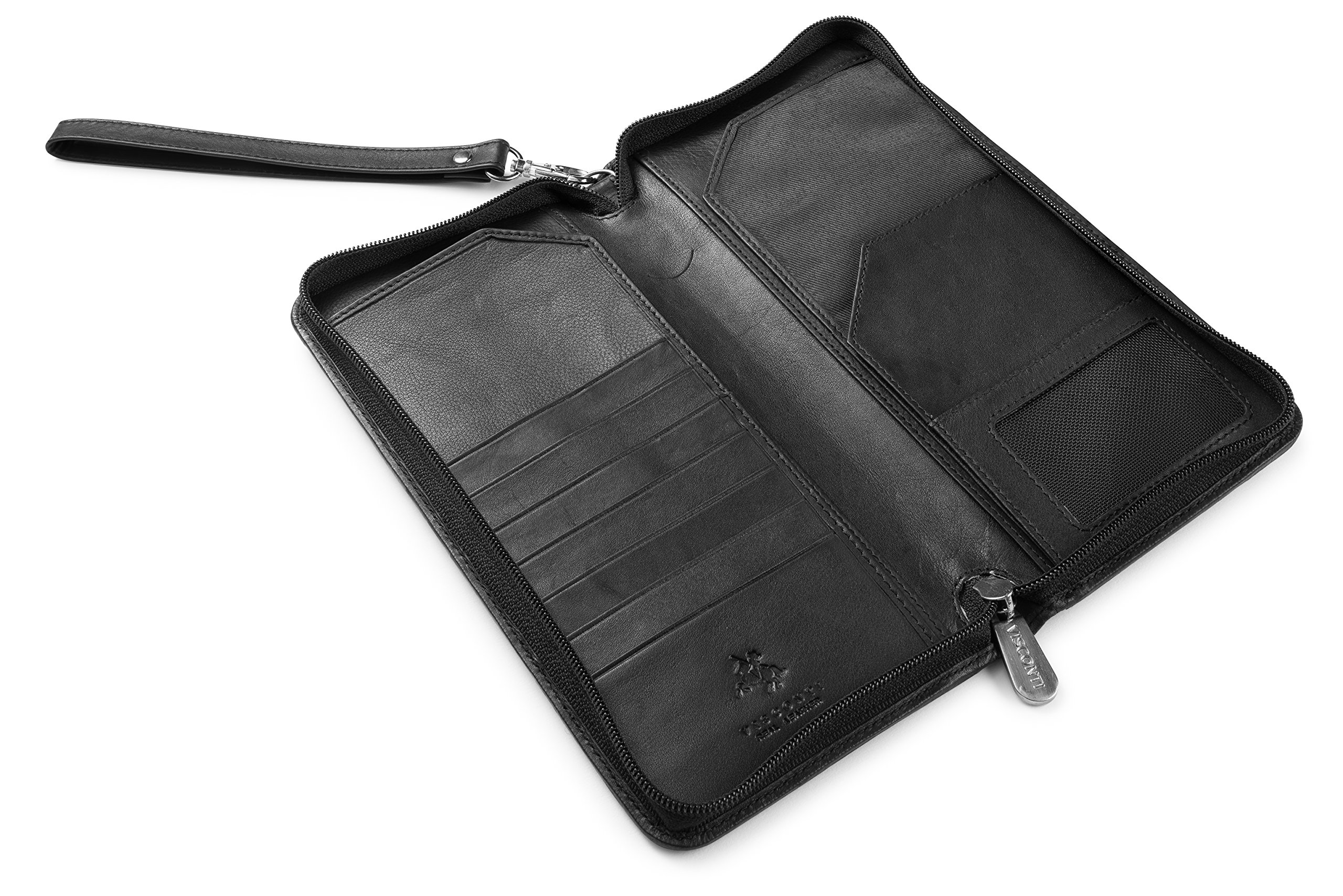 Visconti 1157 Large Leather Travel Wallet Planner for Credit Cards Tickets and Passports (Black)