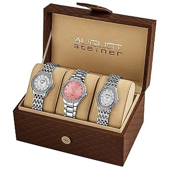 5eec688595f8 August Steiner Women s AS8063SS Dazzling Diamond Swiss Quartz 3 Watch Set
