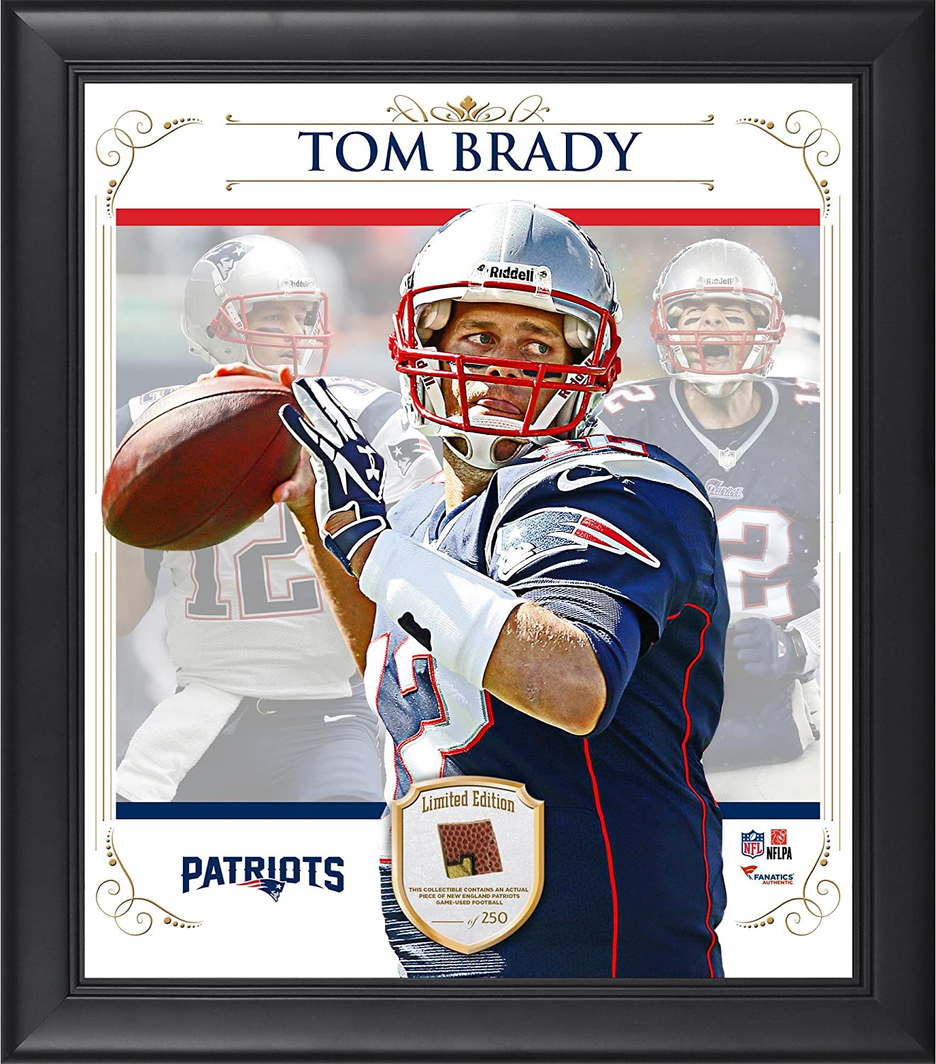 Tom Brady New England Patriots Framed 15' x 17' Composite Collage with Piece of Game-Used Football - NFL Player Plaques and Collages Fanatics Authentic