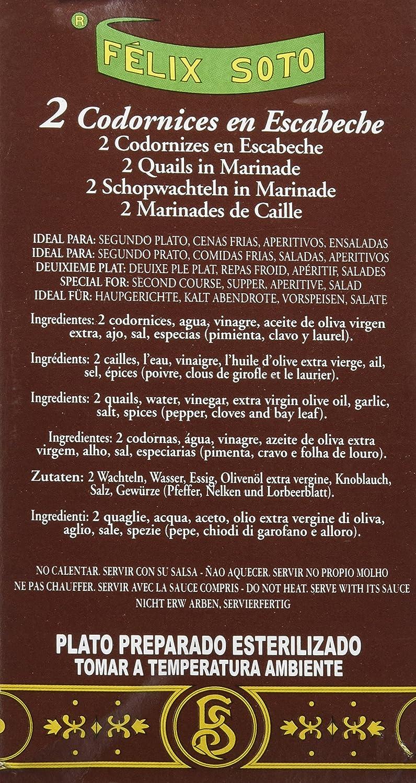 Félix Soto, Conserva de carne de pollo (Codornices en Escabeche) - 4 de 400 gr. (Total 1600 gr.): Amazon.es: Alimentación y bebidas