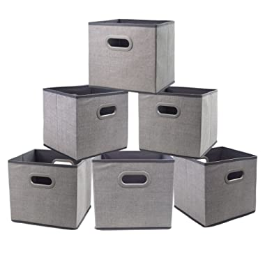 Cloth Storage Bins Cubes Boxes Fabric Baskets Containers,Foldable Closet Shelf Nursery Drawer Organizer for Clothes,Home,Office, Bedroom with Plastic Handles Set of 6 Grey