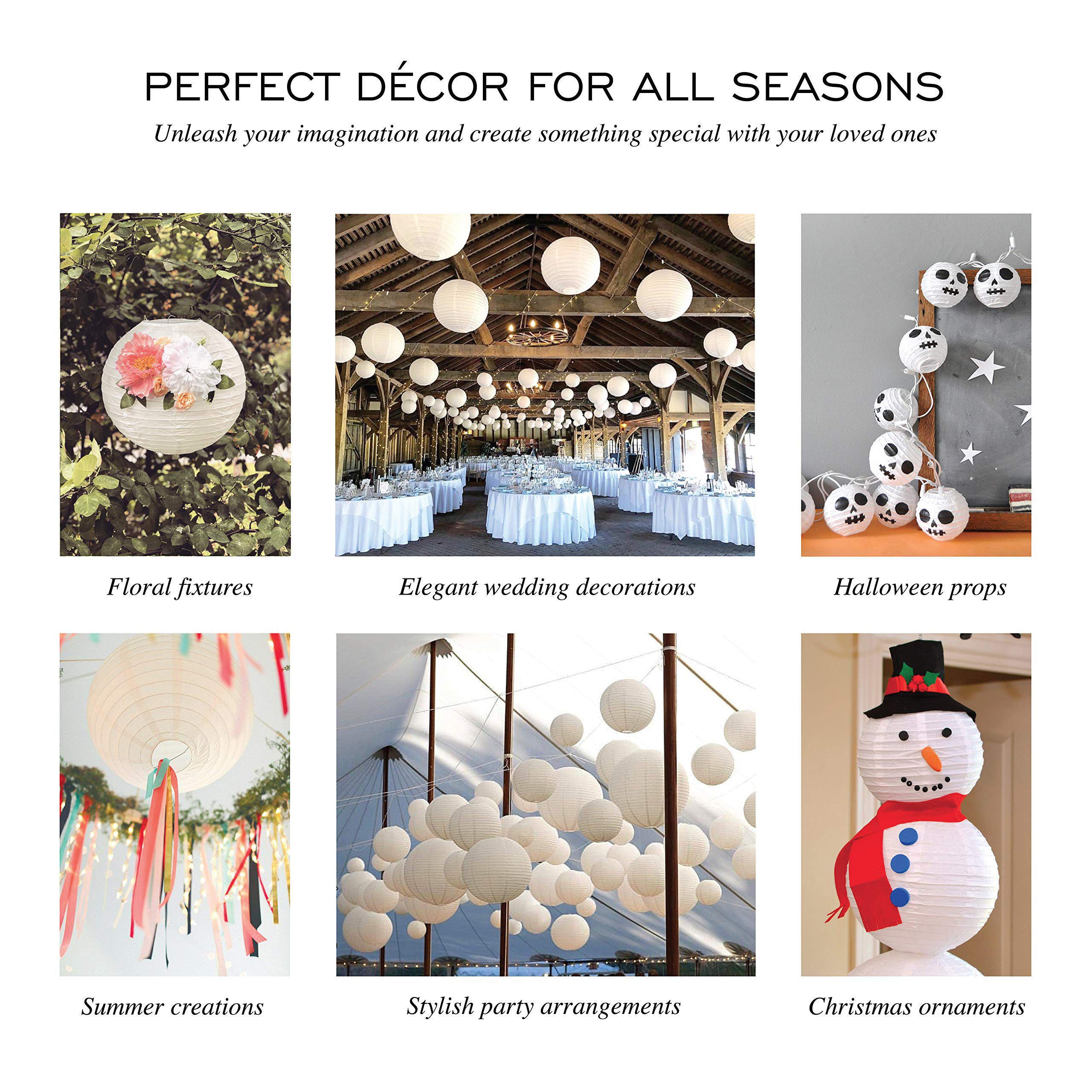 Special Feelings 25 Pack White Paper Lanterns Set (Assorted Sizes of 6, 8, 10, 12 Inch) for Weddings Birthday Parties, Baby Showers, Classroom Decoration and More and More, by Special Feelings (Image #2)