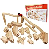 Joyin Toy 62 Pieces Wooden Train Track Expansion Set -- NEW Version Compatible with All Major Brands Including Thomas Battery Operated Motorized Ones