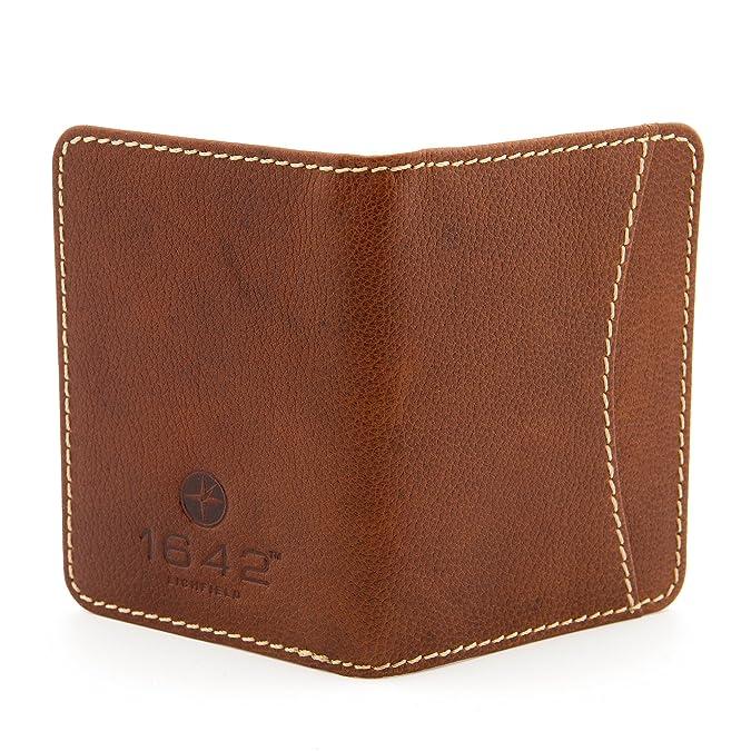1642 - Cartera para tarjeta de viaje, con pespuntes de contraste marrón marrón: Amazon.es: Zapatos y complementos
