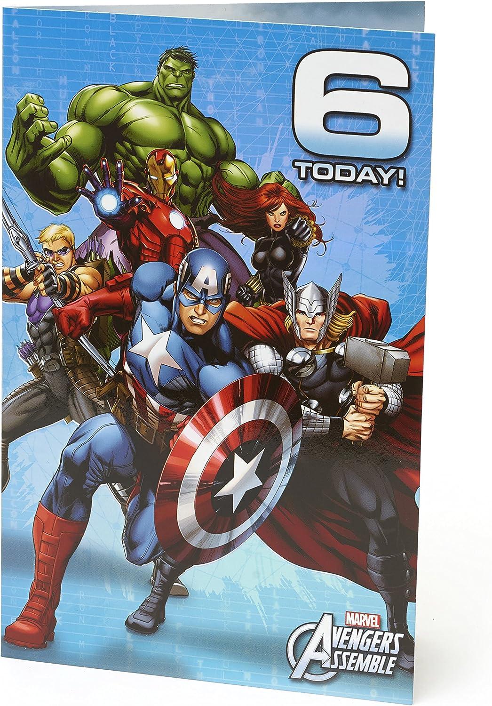 Age 6 Birthday Card - Avengers Birthday Card Featuring Hulk, Iron Man,  Thor, Captain America, Black Widow, Hawk Eye - 6th Birthday, Ideal Gift  Card