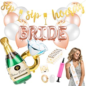 Bachelorette Party Decorations Kit- Bridal Shower Party Supplies & Engagement Party Decor - Bride to Be Sash, Gold Glitter Banner, Rose Gold Balloons, Bride Tribe Tattoos