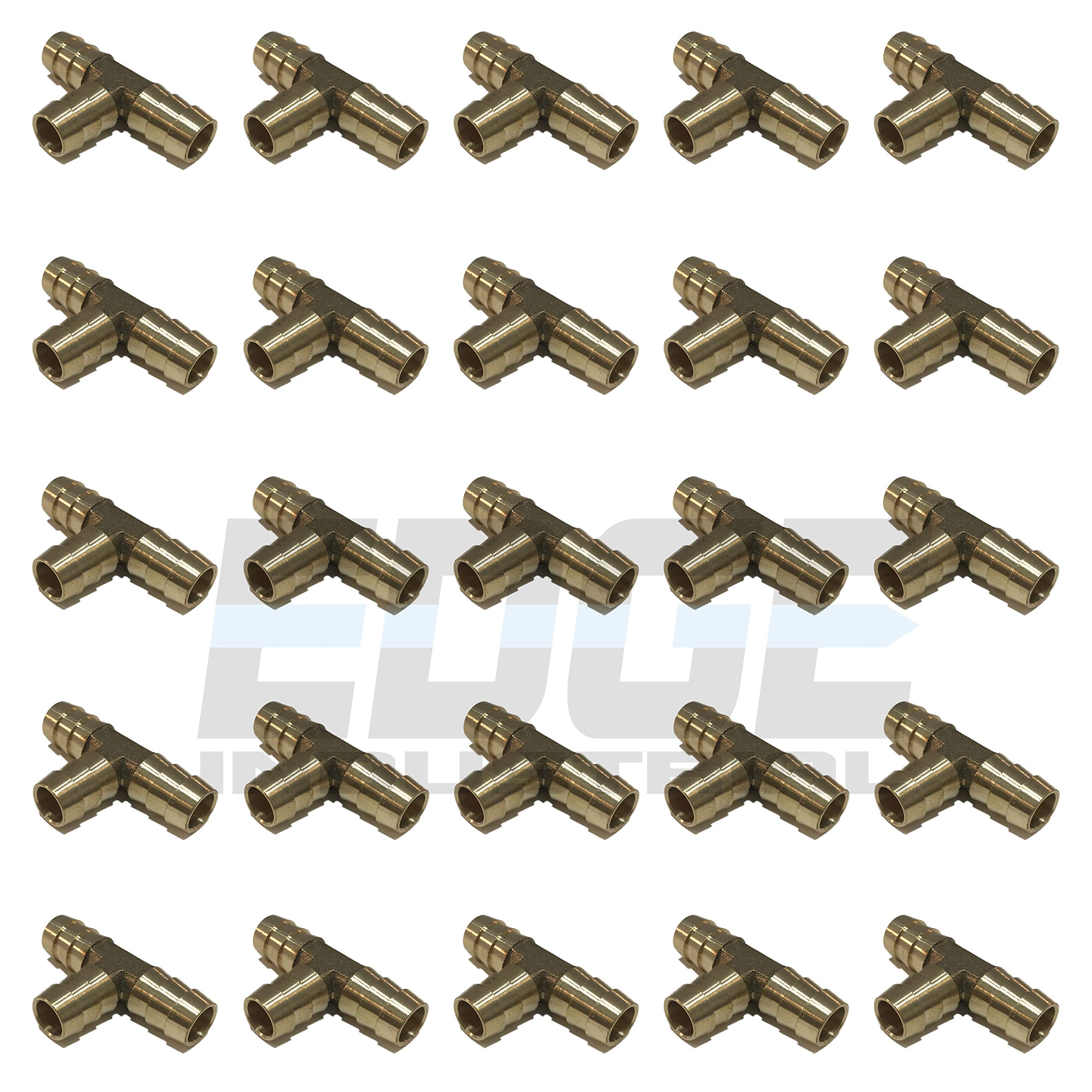 EDGE INDUSTRIAL 1/2'' Hose ID Brass Hose Barb TEE SPLICER Fitting Fuel / AIR / Water / Oil / Gas / WOG (Qty 25)