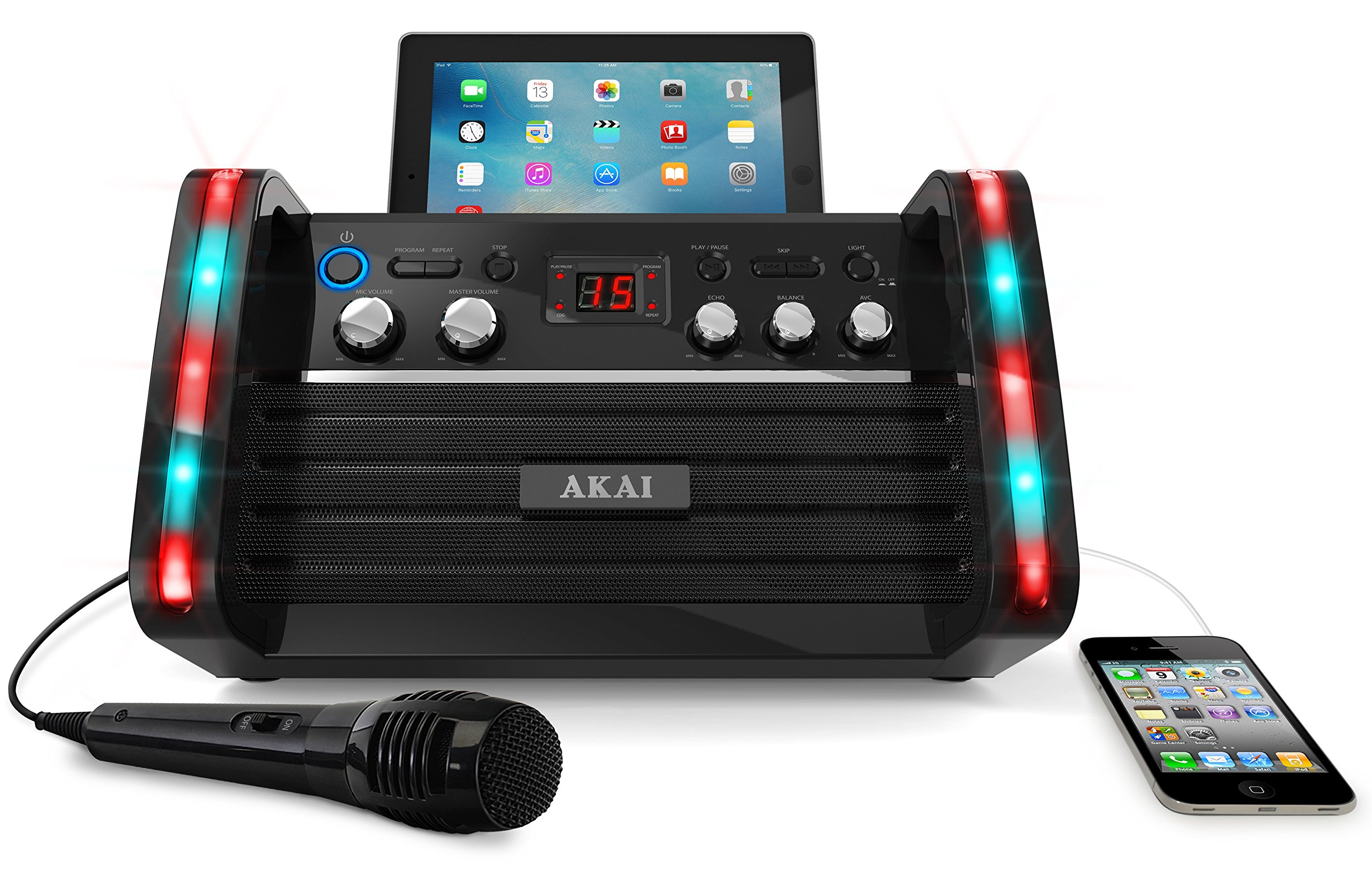 Akai KS213 Portable CD&G Karaoke System with Tablet Cradle