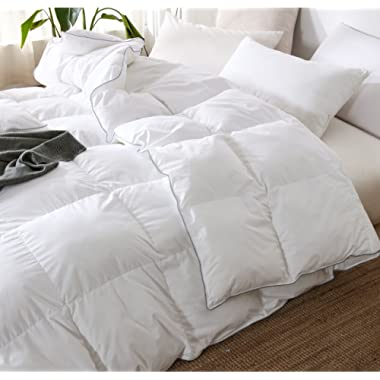 THREE GEESE Luxurious Goose Down Comforter KING SIZE Duvet Insert All Seasons Down Comforter,100% Cotton Cover Filled 65 oz High Fill Power,Hypoallergenic&Durable