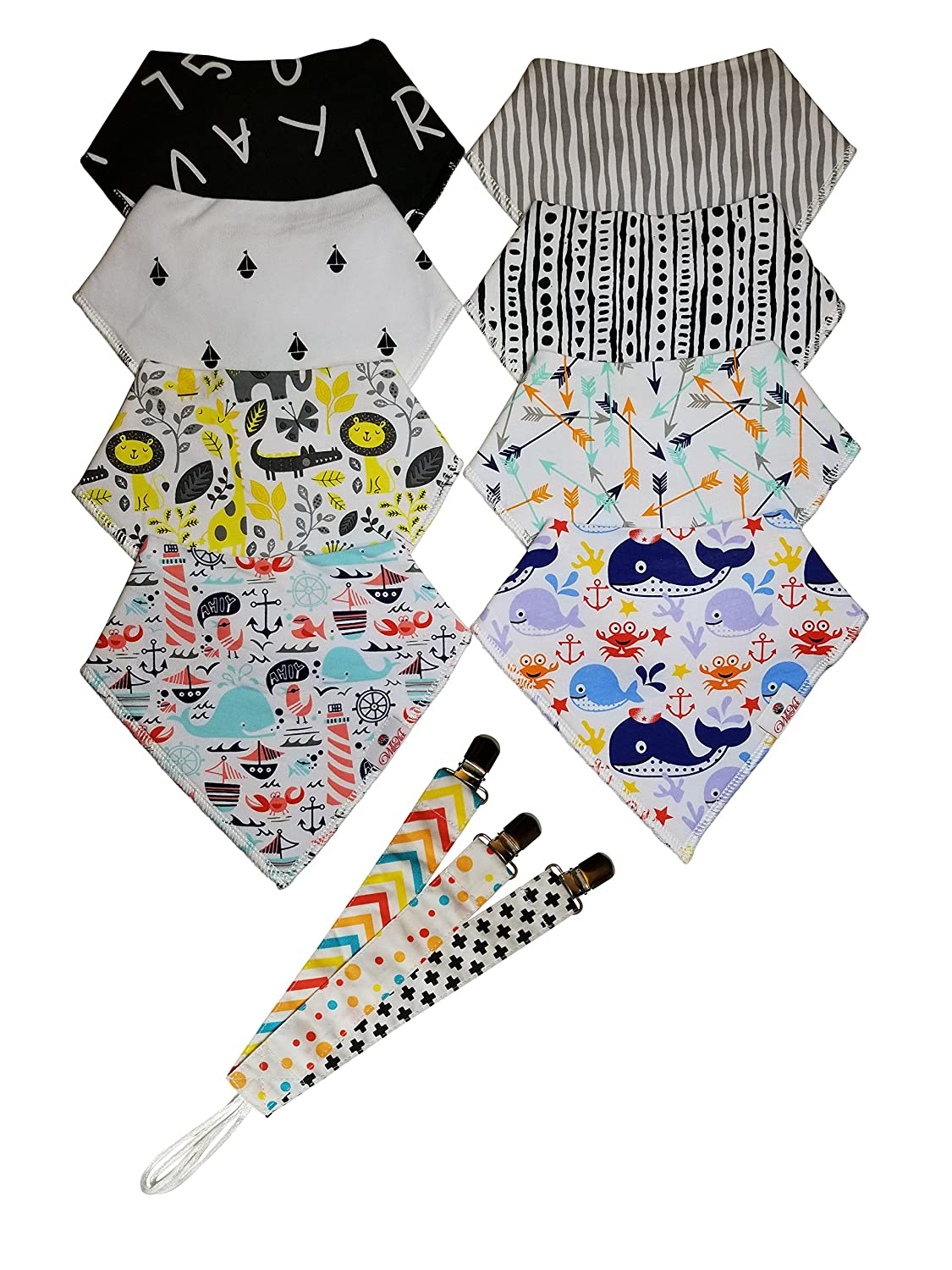 Baby Bandana Drool Bibs for Infant, Toddler - 8 Pack