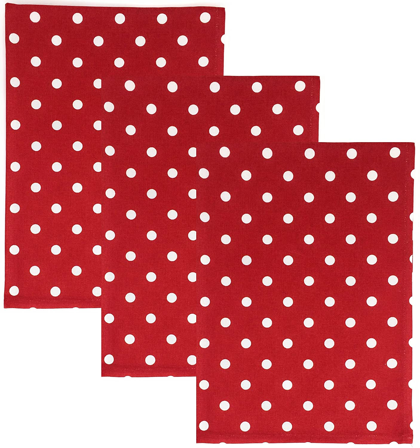 Dunroven House Polka Dot 100% Cotton Kitchen Towels, Set of 3 (Red)