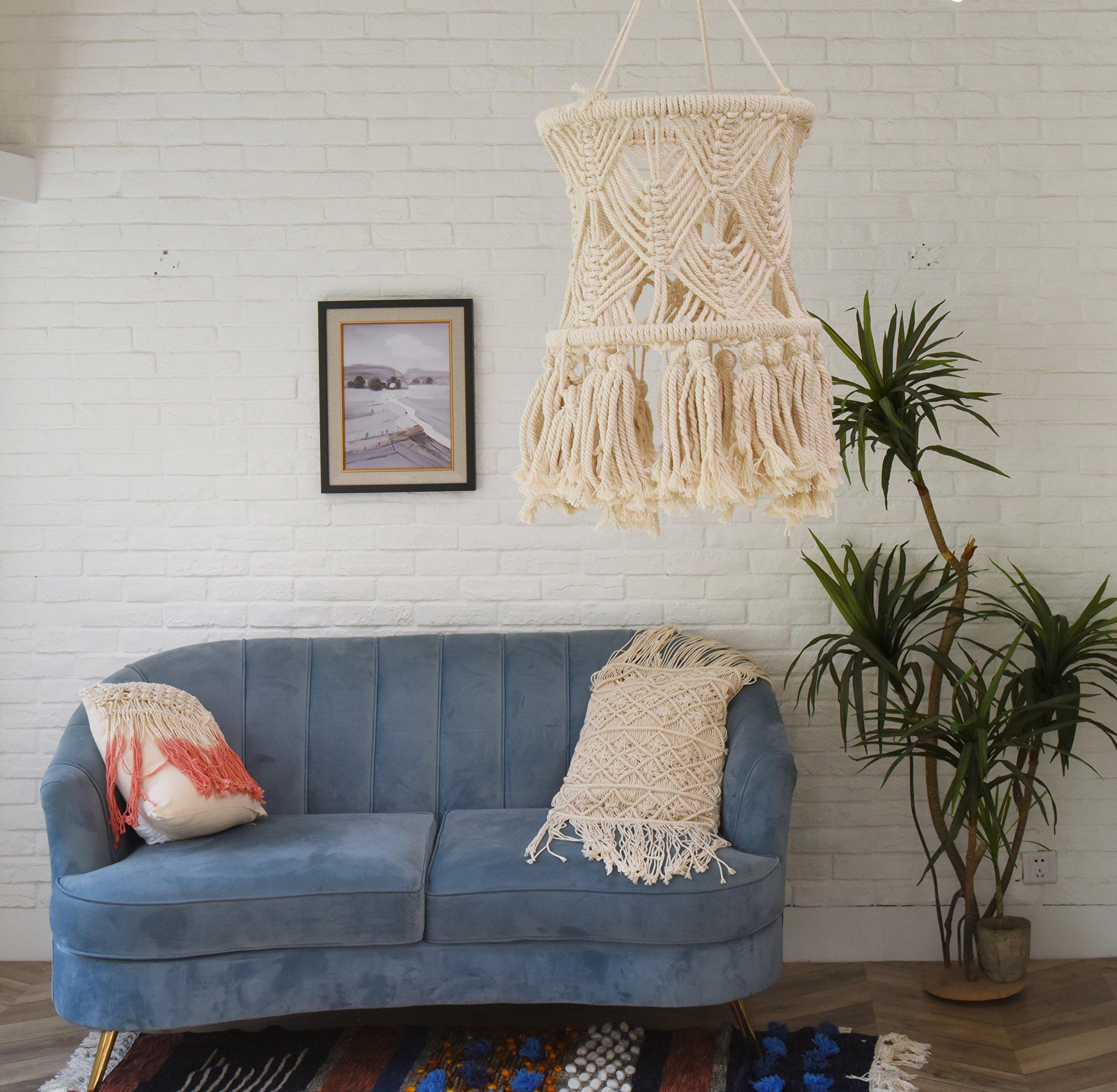 Flber Macrame LampShade Tasseled Chandelier Boho Wedding Hanging Handwoven Home Decoration,11'' Wx 20'' L