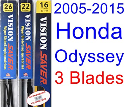 2005-2015 Honda Odyssey Replacement Wiper Blade Set/Kit (Set of 3 Blades) (Saver Automotive Products-Vision Saver) ...