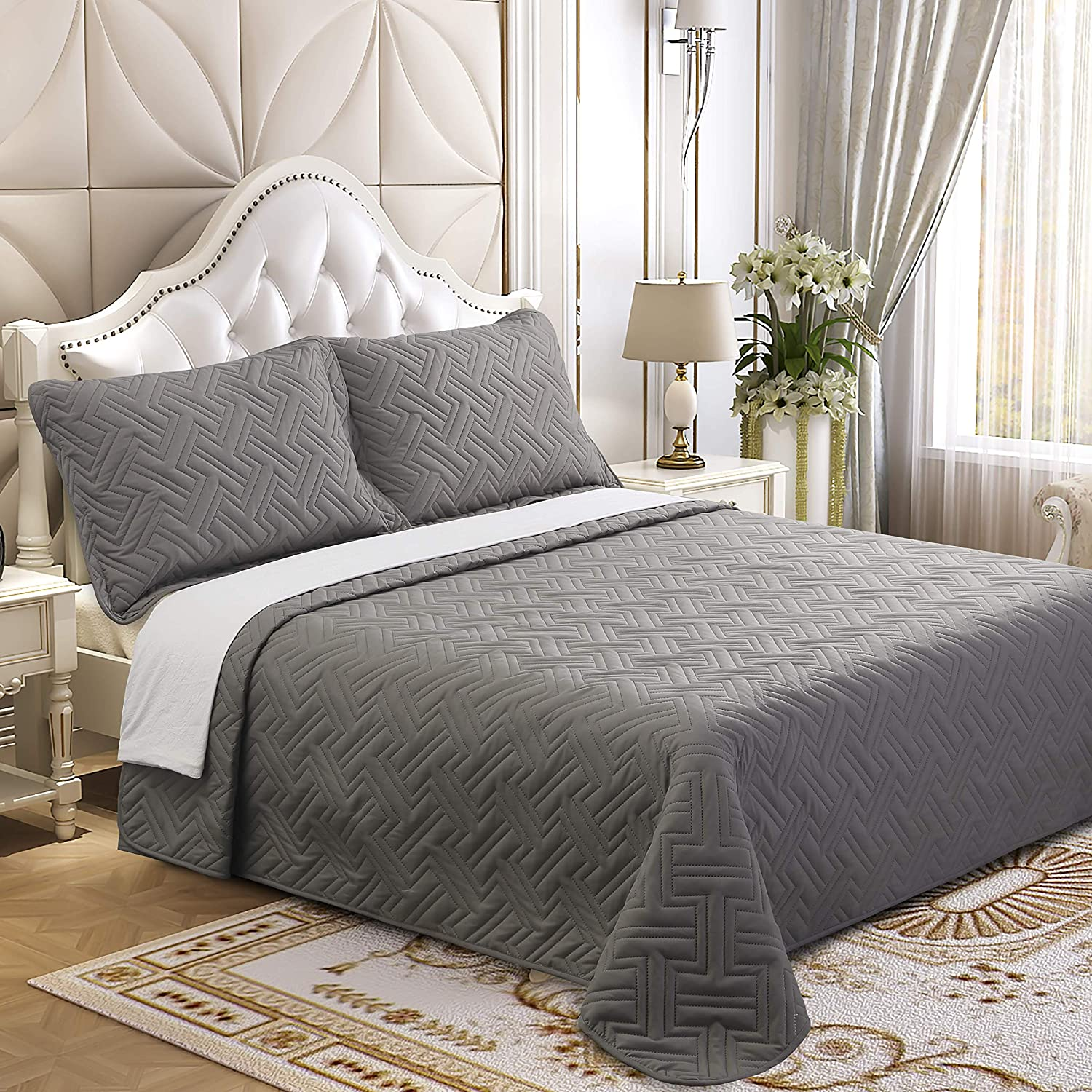 Lorient Home Brushed Microfiber Embossed 3 Piece Full/Queen Lightweight Quilt Set for Coverlet or Blanket Silver Bedding, Multi