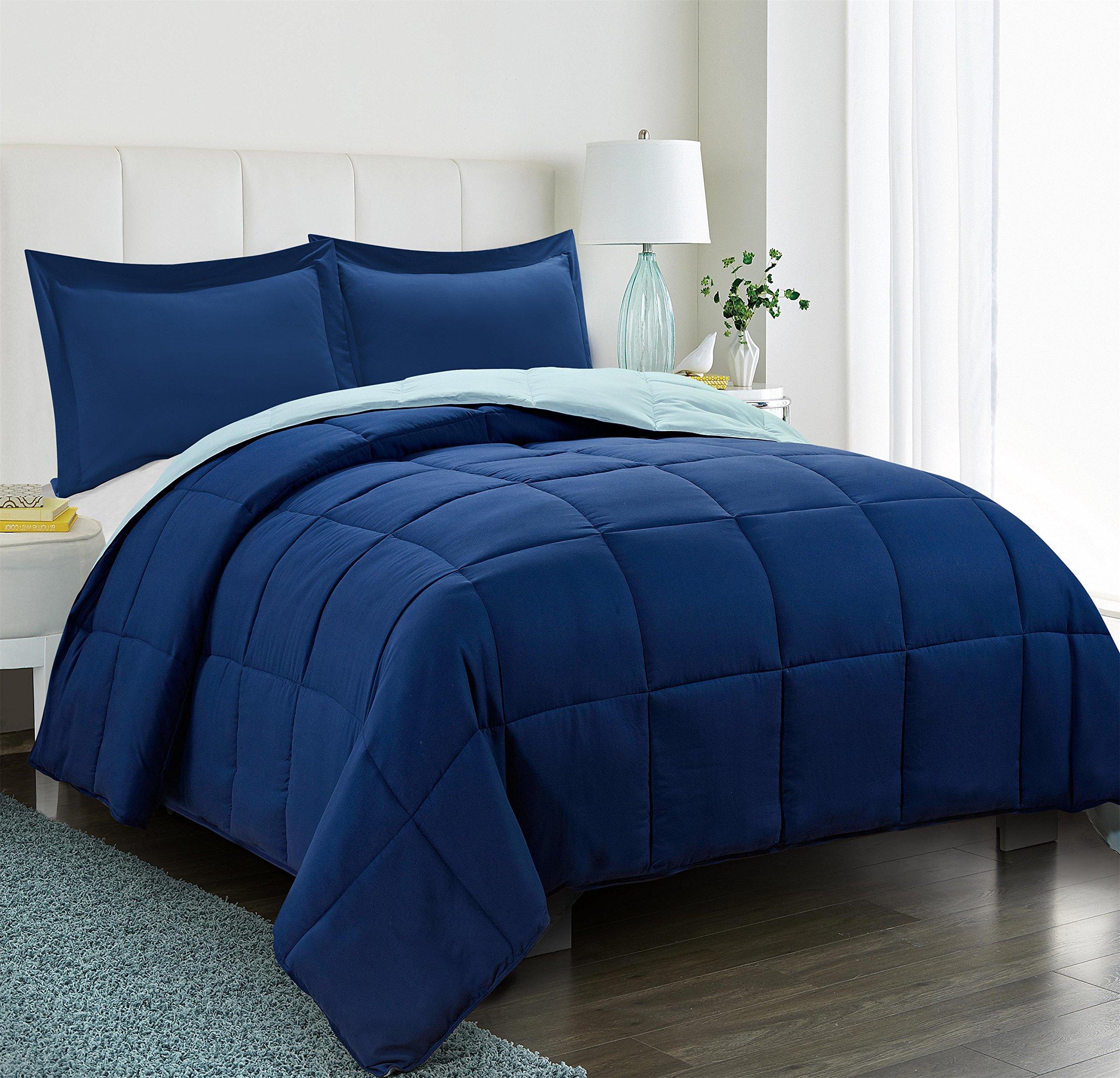 HIG 2pc Down Alternative Comforter Set -All Season Reversible Comforter Sham - Quilted Duvet Insert Corner Tabs -Box Stitched –Hypoallergenic, Soft, Fluffy (Twin/Twin XL, Navy/Light Blue)