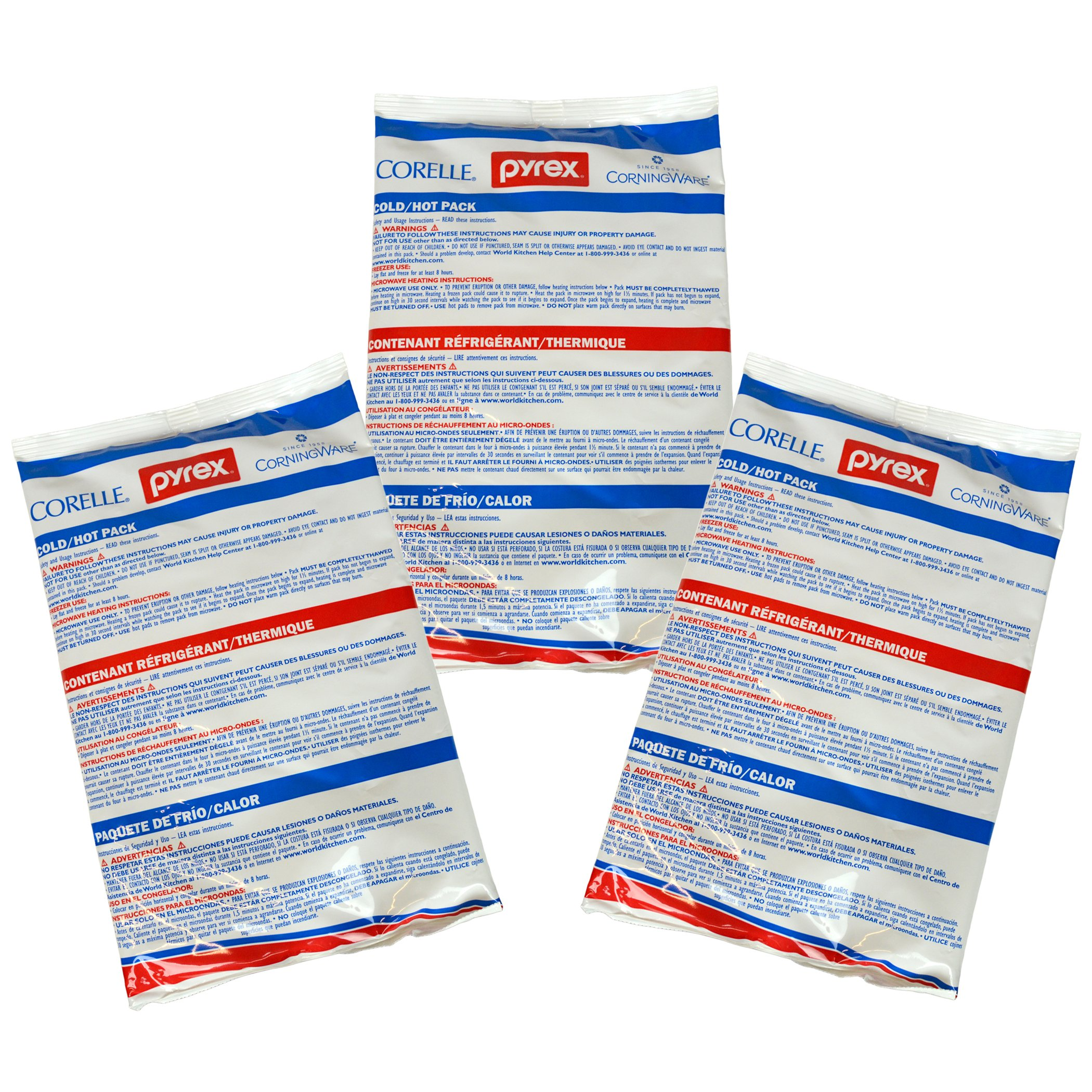 Pyrex Large Portable Ice Substitutes Gel Freeze Pack - 3 Pack