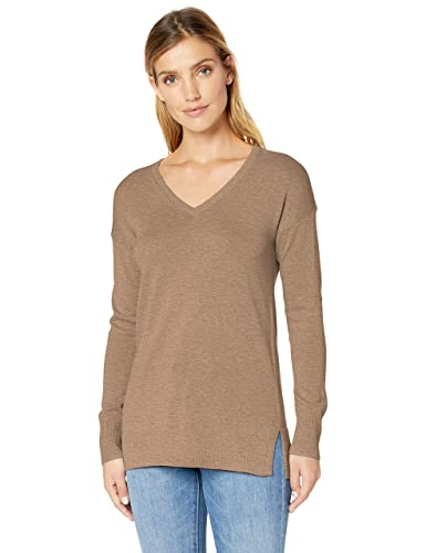 Amazon Essentials Women's Lightweight V-Neck Tunic Sweater, Camel Heather, Small