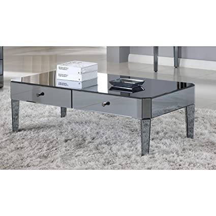 Amazon Com Best Master Furnitures D1120 Mirrored Coffee Table