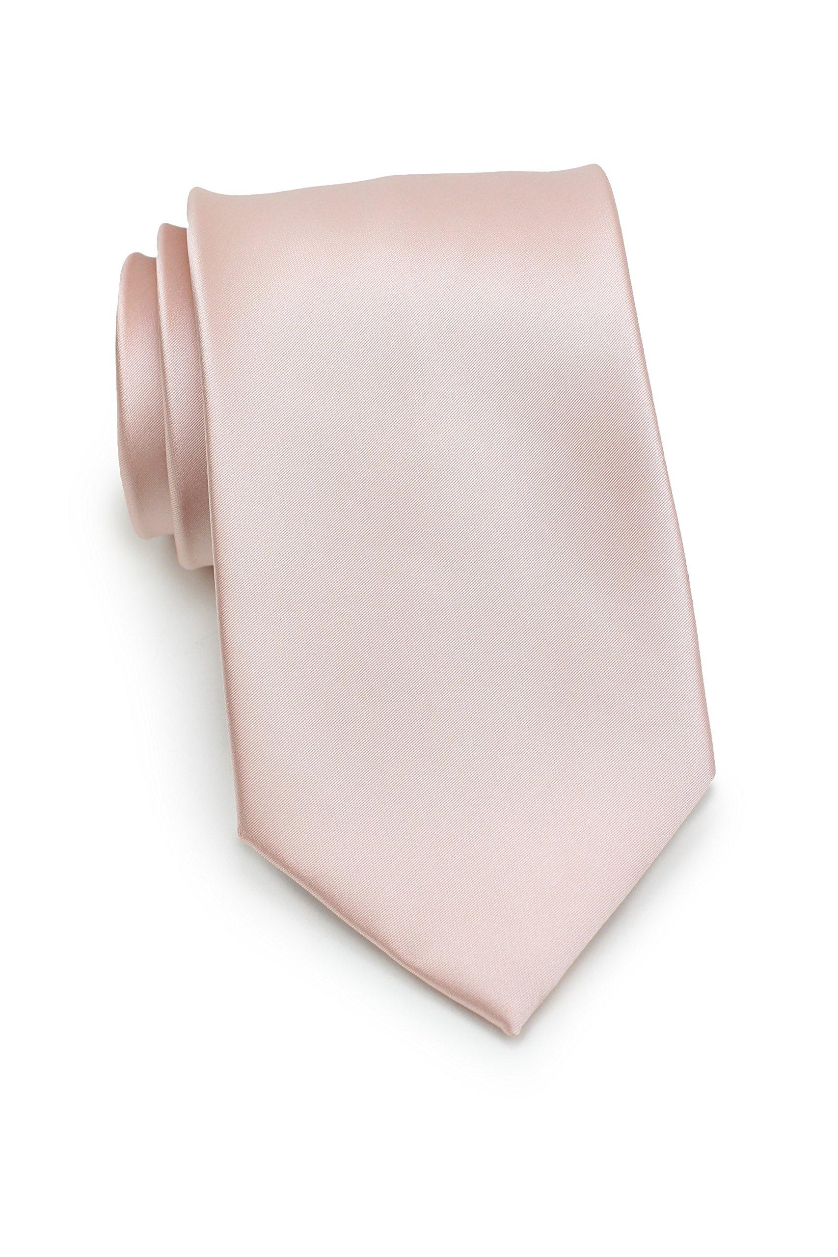 Bows-N-Ties Men's Necktie Solid Color Microfiber Satin Tie 3.25 Inches (Blush Pink)