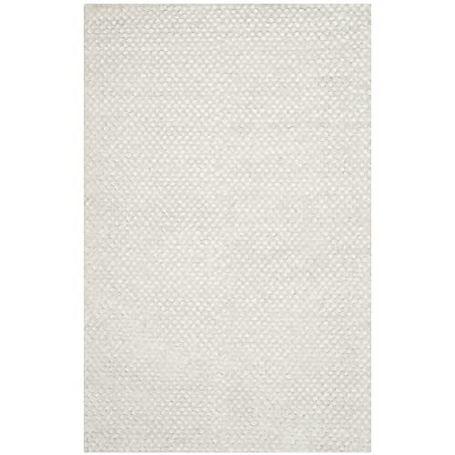 Safavieh Saint Tropez Collection STS641W Hand Woven Snow White Polyester Area Rug 5 x 8