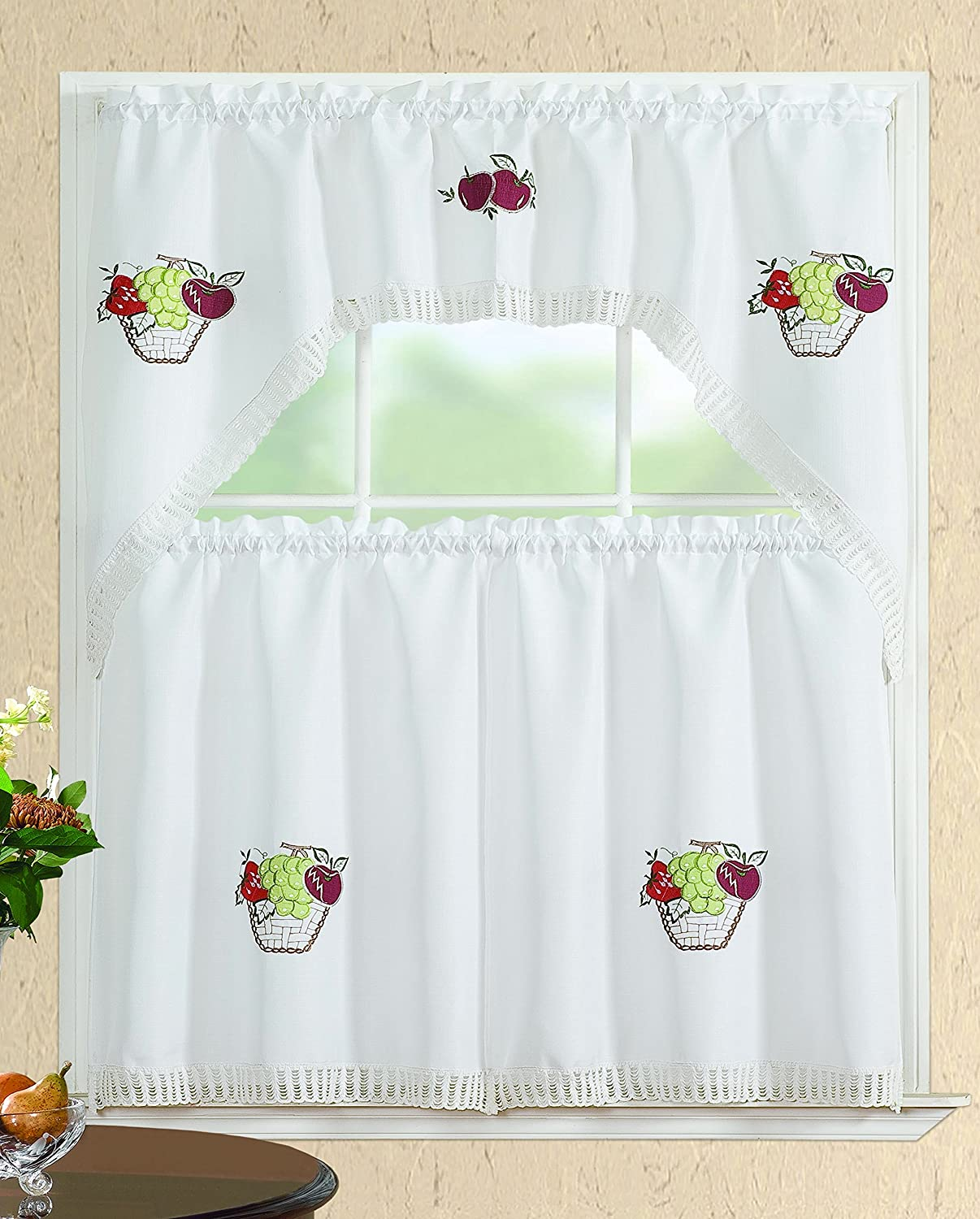 All American Collection Modern 3pc Kitchen Curtain Set With Swag Valance