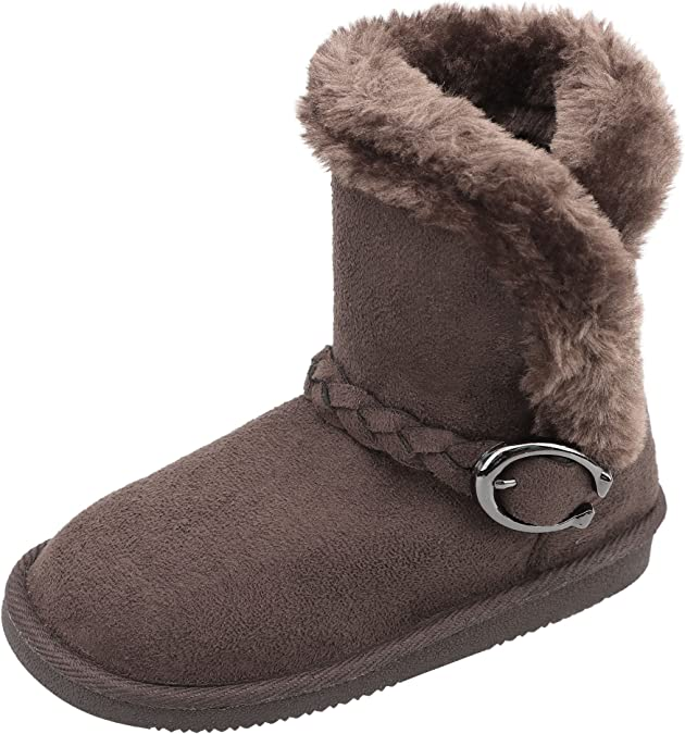 Infants Faux Fur Kids Girls Mid Calf Zip Buckle Warm Snow Winter Boots New