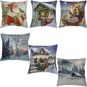 Flauschige Weihnachten Kissenhülle Kissenbezug 40x40 Cm Dekokissen Fotodruck Winterlandschaft
