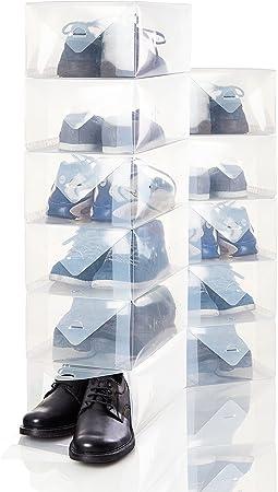 Lumaland Caja almacenaje Zapatos Hombre. Apilable. Transparente Set de 10. 35 x 22 x 14 cm: Amazon.es: Hogar