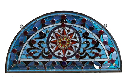 Amazon Com 34 L X 18 H Half Round Tiffany Style Stained Glass