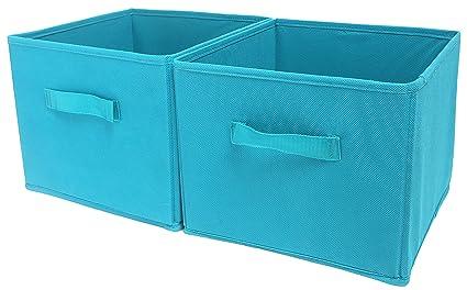 27482f375aa8 Amborido Storage Cubes Foldable Drawers Fabric Bins 2 Pack Lake Blue