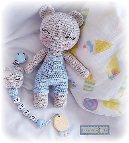 PACK PELUCHE Osito+CHUPETERO Crochet Personalizado+MORDEDOR Silicona+MUSELINA. ENVÍO GRATIS.