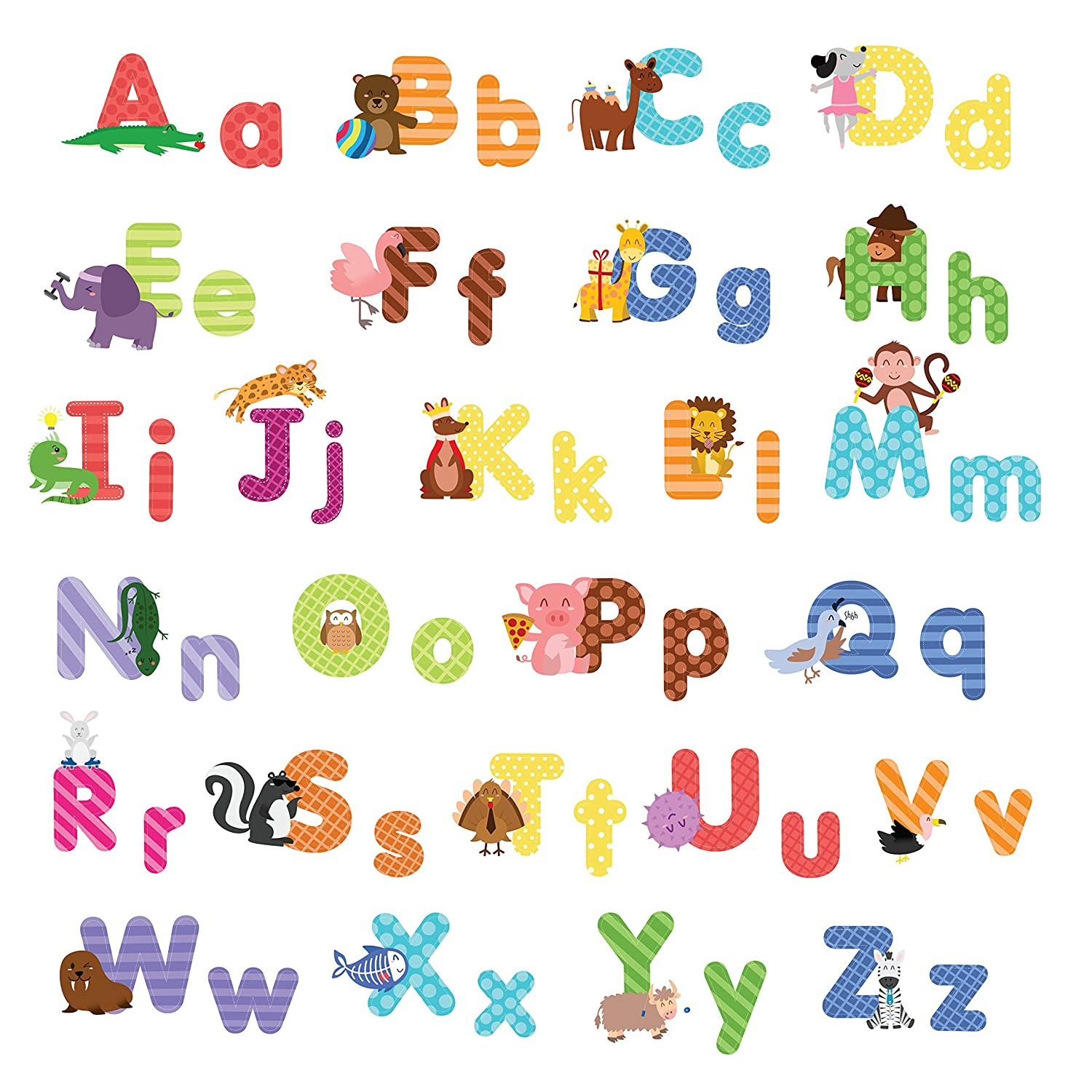 treepenguin Kids Animal Alphabet Wall Decals: Cute Removable ABC Wall Stickers for Toddler Boys and Girls Rooms - Large Educational Letters for Bedrooms Playrooms & Baby Nursery Wall Decor WDCANA52