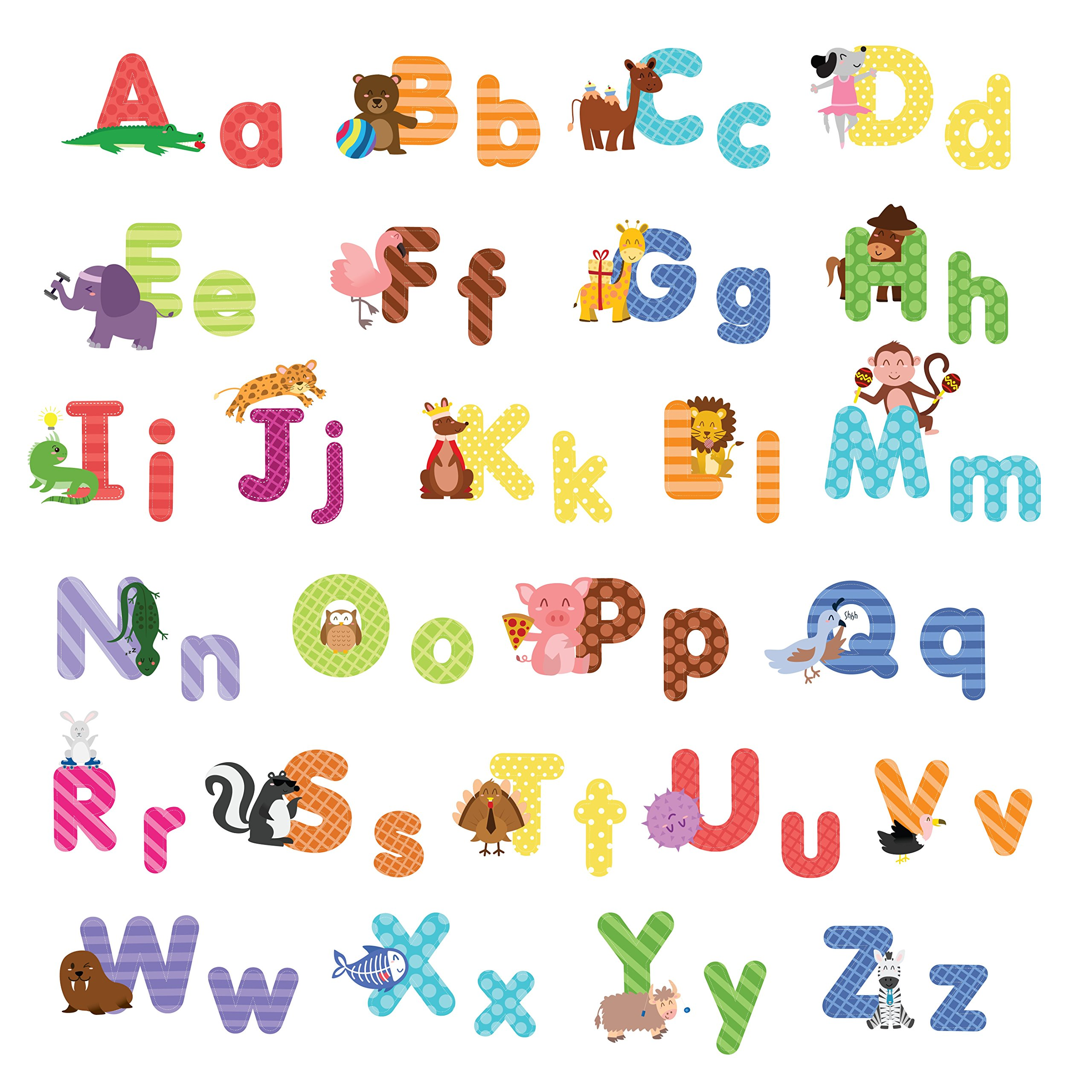 treepenguin Kids Animal Alphabet Wall Decals: Cute Removable ABC Wall Stickers for Toddler Boys and Girls Rooms - Large Educational Letters for Bedrooms Playrooms & Baby Nursery Wall Decor by treepenguin