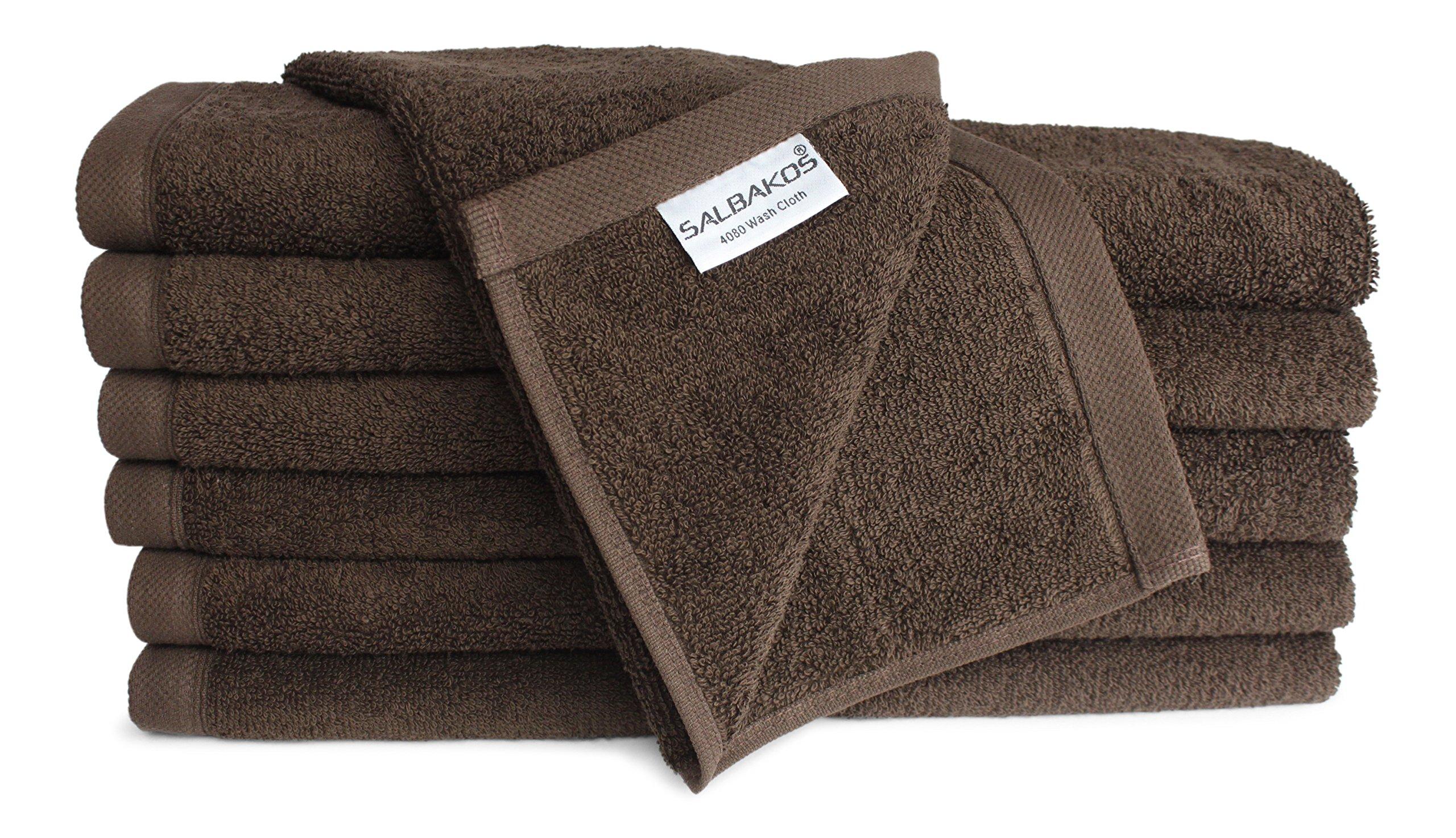 SALBAKOS Luxury Hotel & Spa Turkish Cotton 12-Piece Eco-Friendly Washcloth Set Bath, Chocolate