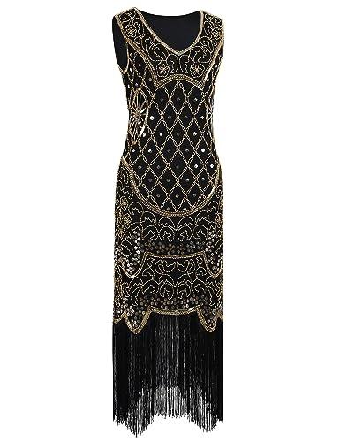 Kayamiya Women's Vintage 20s Art Deco Inspired Flapper Great Gatsby Fringe Dress