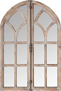 Stone & Beam Vintage Farmhouse Wooden Arched Multipanel Mantel Mirror, 36