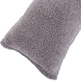 "Lavish Home 64-28-G Body Pillow Cover. Sherpa with Side Zipper, 18 ""x52, Grey"