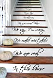"""(17"""" X 31"""") Vinyl Stairs Decal Quote in This House We Are Family We Love Do / Inspirational Text Wall Art Decor Home Sticker + Free Random Decal Gift"""