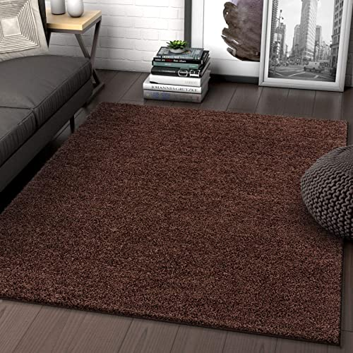 Solid Retro Modern Brown Shag 7×10 6 7 x 9 10 Area Rug Plain Plush Easy Care Thick Soft Plush Living Room Kids Bedroom