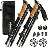 Foxelli Folding Trekking Poles – Ultra Compact, Lightweight & Durable Aluminum 7075 Collapsible Hiking Poles with Natural Cor
