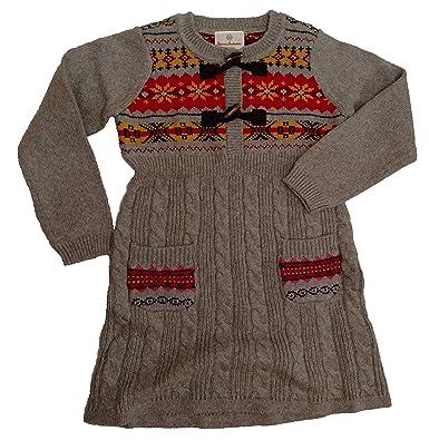 Amazon.com: Hanna Andersson Little Girl Fair Isle Knit Dress (100 ...