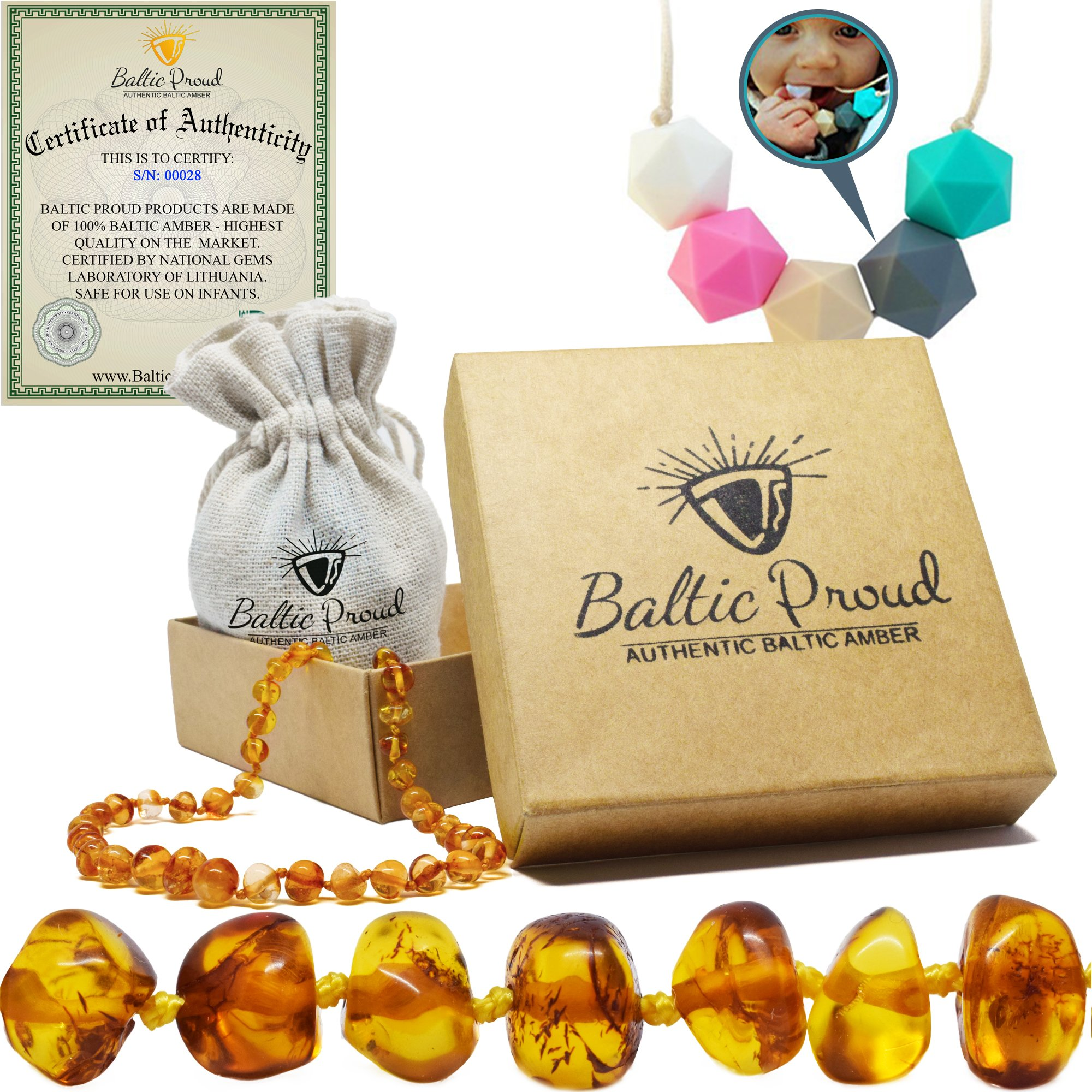 Amber Teething Necklace for Babies Gift Set (Unisex) + Silicone Teething Necklace - Anti Inflammatory, Natural Drooling and Teething Pain Relief, Highest Quality, Authentic Baltic Jewelry (Honey)